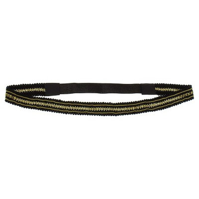 Women's Crochet Trim Headwrap with Chain Detail - Black/ Gold