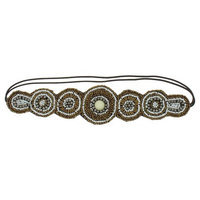 Women's Circle Pattern Mixed Beaded Head Wrap - White/Gold