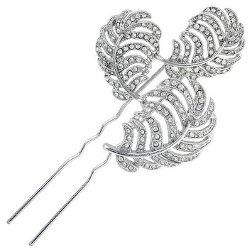 Roman & Sunstone Women's Kenneth Jay Lane Crystal Leaf Hair Comb and Pin - Silver