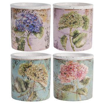 A & B Home Set of 4 Vintage Floral Print Unscented Candles