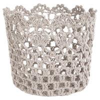 A & B Home Crochet Single Candle Holder - Grey