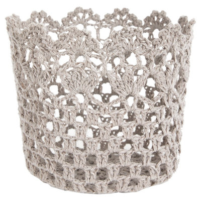 A & B Home Crochet Single Candle Holder - Grey