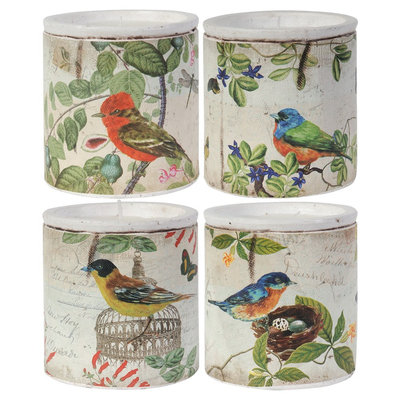 A & B Home Set of 4 Filled Candles - Vintage Birds