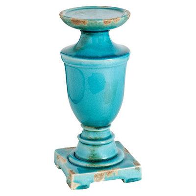 A & B Home Ceramic Pillar Candle Holder - Blue (12