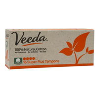 Veeda 100% Natural Cotton Applicator-Free Tampons, Super Plus, 16 ea