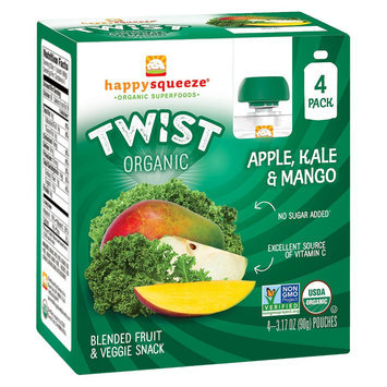 Happy Squeeze Organic Twist Apple, Mango & Kale Squeezers 3.17 oz 4 ct