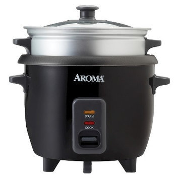 Aroma 6 Cup Rice Cooker w/ Steam Tray - Black