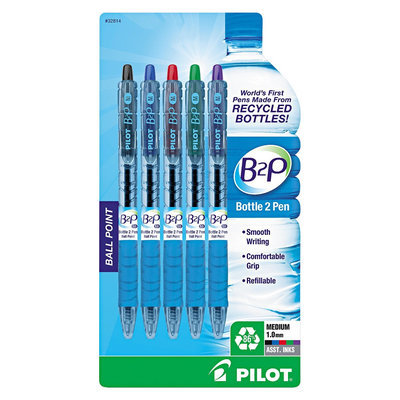 Pilot B2P Recycled Ballpoint Pen, 1.0mm, Assorted Ink, 5/Pk