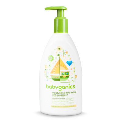 Babyganics Moisturizing Daily Lotion with Sunscreen, Chamomile Verbena - 11 floz