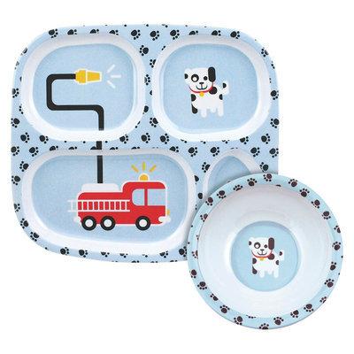 Bumkins Melamine Bowl and Divided Plate Set, Fire Engine
