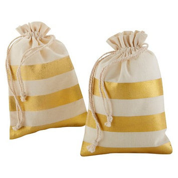 Kate Aspen Gold Stripe Muslin Favor Bag - Set of 12