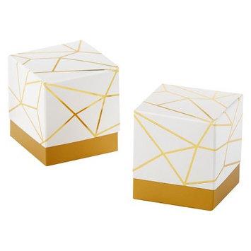 Kate Aspen White and Gold Geometric Favor Box - Set of 24