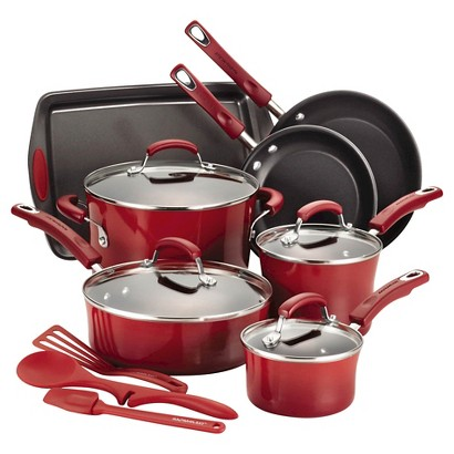 Rachael Ray Hard-Anodized Nonstick Aluminum 14-pc. Cookware Set (Red)