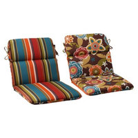 Pillow Perfect Outdoor Reversible Rounded Chair Cushion - Brown/Turquoise