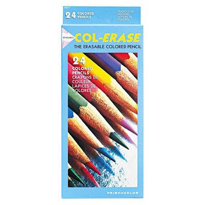 Sanford Prismacolor Col-Erase Colored Woodcase Pencils w/ Eraser, 24 Assorted Colors/Set