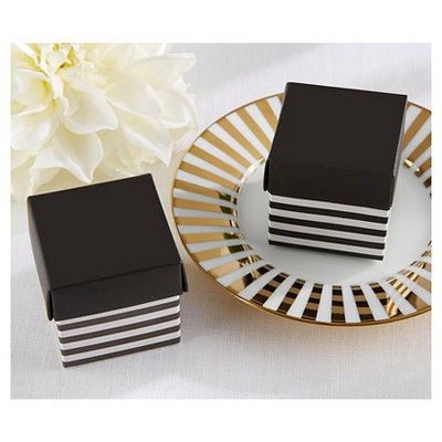 Kate Aspen Classic Black and White Striped Favor Box - Set of 24