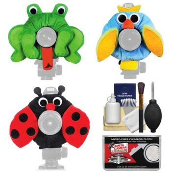 Camera Creatures Owl, Ladybug & Frog Portrait Posing Prop Essentials Bundle with Cleaning Kit