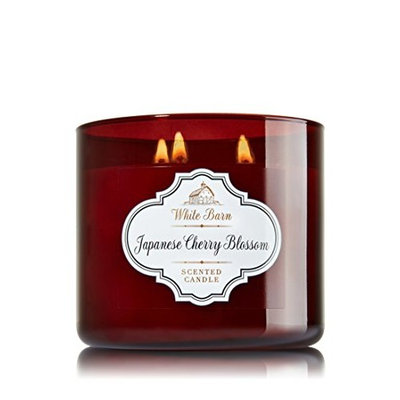 Bath & Body Works 3 Wick Candle 14.5 Oz White Barn Japanese Cherry Blossom