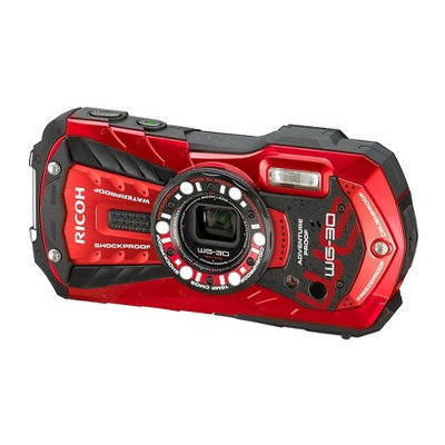 Ricoh WG-30 Digital Camera, Waterproof to 39', Shockp027f, 16MP Backlit CMOS, 5x Optical Zoom, Face Detection, 1080p Video, Vermillion Red