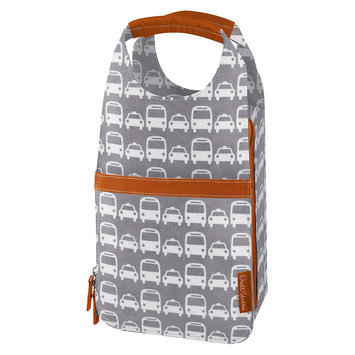 DwellStudio Thermos Insulated Bottle Carrier - Grey/Orange/White