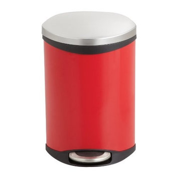 Safco Products Ellipse Step-On Waste Receptacle, 3 Gallon, Red, 9901RD
