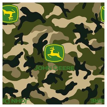John Deere Logo on Camo Fleece Fabric