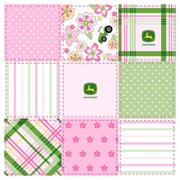 John Deere Floral Madras Patch Fabric