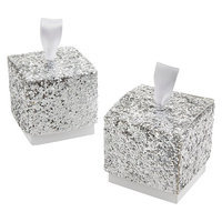 Kate Aspen Sparkle and Shine Silver Glitter Favor Box - Set of 24