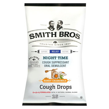 Smith Bros Night Time Cough Suppressant Honey Chamomile Cough Drops - 25 Count