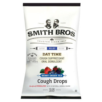 Smith Bros Day Time Cough Suppressant Berry Green Tea Cough Drops - 25 Count