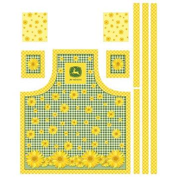 John Deere Sunflowers Butcher Block Apron Fabric