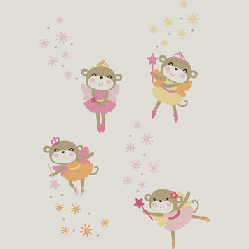 Kids Line Carters Fairy Monkey Wall Decals Pink/Yellow Infant
