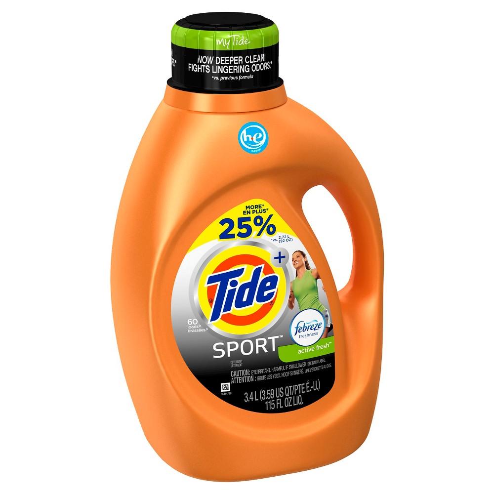 Tide Plus Sport HE Liquid Laundry Detergent 115 Floz/60LD