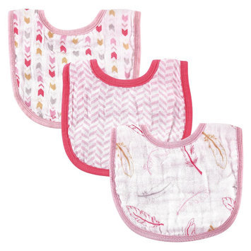 Hudson Baby Baby 3-Pack Muslin Bib Set - Feather Pink