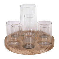 Creative Co-op 8 Piece Simply Natural Wood with Glass Votive Set, Votive, Set, Glass, Contemporary