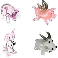 BrainStorm Looking Glass Miniature Glass Figurines, 4-Pack, Pig/Flying Pig/Rabbit/Goat