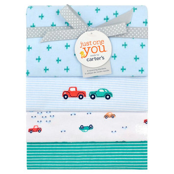 Just One You Made By Carter's Just One You Made by 4 Pack Cars Flannel Blanket - Blue