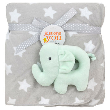 Just One You Made By Carter's Just One You Made by Stars Blanket with Elephant Plush Rattle - Gray