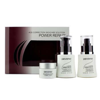 Pevonia Botanica Your Skincare Solution Power Repair Set: Cleanser 50ml + Lotion 50ml + Cream 20ml + Bag 3pcs+1bag
