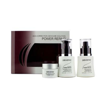 Pevonia Botanica Your Skincare Solution Power Repair Set: Cleanser 50ml + Lotion 50ml + Cream 20ml + Bag 3pcs+1bag