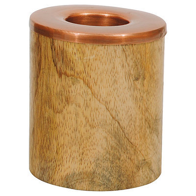 Creative Co-op Wood and Aluminum Tealight Holder Copper Finish
