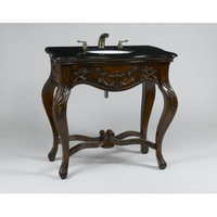 Aa Importing Queen Anne Inspired Carved Wooden Vanity with Black Marble Top
