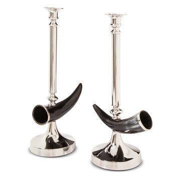 Go Home Decorative Otis Candle Stick Pair - Aluminium/Black