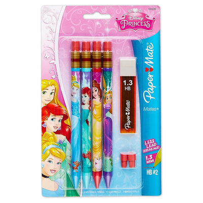Papermate Disney Princess #2 Mechanical Pencils, 1.3mm, 4ct With Lead/Eraser Refills, Multi-Colored