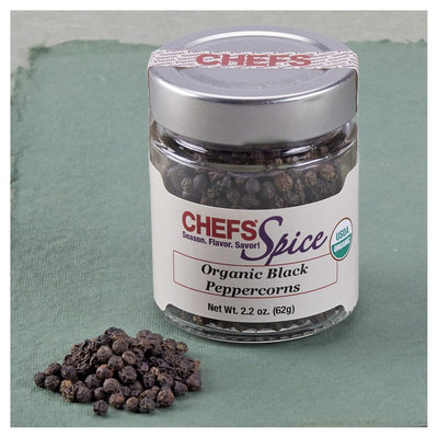 CHEFS Organic Black Peppercorns, Whole, 2.2-ounce - 2.2-oz. - CHEFS Spice Organic