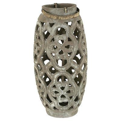 Creative Co-op Cement Cutout Lantern - Grey (7-1/4