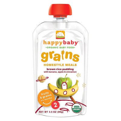 Happy Baby Stage 2 Brown Rice Pudding with Banana, Apple, Cinnamon - 3.5oz (8 Pack)