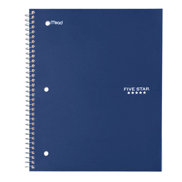 Acco Five Star 1 Subject Wide Ruled Notebook - Navy