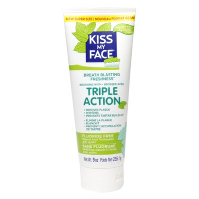 Kiss My Face Triple Action Fluoride-Free Natural Aloe Toothpaste Gel with Xylitol, Cool Mint, 9 oz