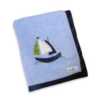 Nautica Zachary Appliqued Fleece Blanket - blue